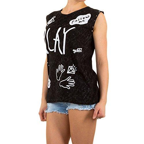 Damen Shirt, PRINT NIETEN SHIRT SHIRT, KL-54113 Schwarz