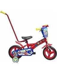 Bicicleta Niño Mickey Mouse con Barra de Aprendizaje 10 pulg Rojo