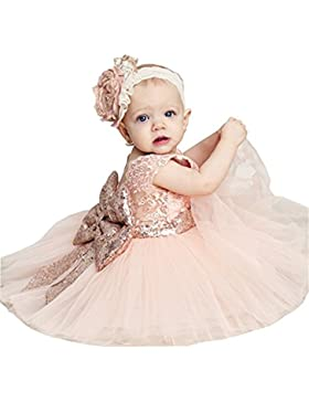 Sawanica Baby Mädchen Kleid Taufe Kleid Kind Mädchen Pailletten-Kleid mit Schleife-Deco Mädchen 0-5 Jahre