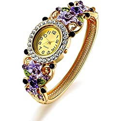 Oven Moda Crystal Bangle Cuff Bracelet Quartz Watch for Women Ladies Gold Plated Flower Jewellery Perimeter:20.5cm(Purple)