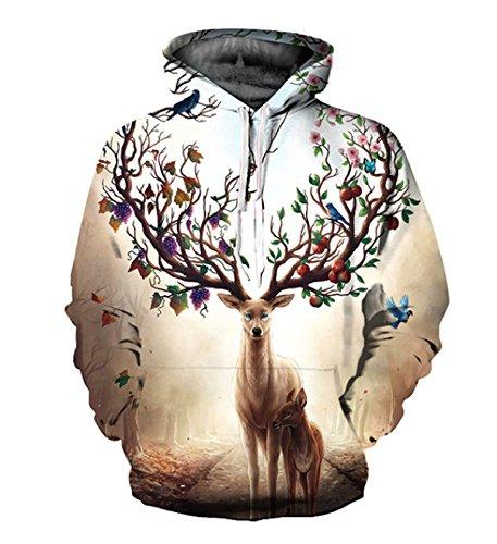 Sweatshirt Hoodies 3D Imprimer Cordon À Capuche À Manches Longues Casual Jumper Avec Grande Poche Pour Hommes Femmes Couples Beige