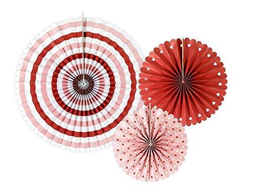 SiDeSo® 3 Rosetten Deko Party Hochzeit Geburtstag (Herzen rot weiß) - 3 Rote Herzen