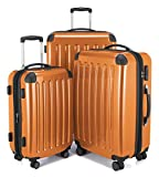 HAUPTSTADTKOFFER - Alex -  4 Doppel-Rollen 3er Koffer-Set Trolley-Set Rollkoffer Reisekoffer, TSA, (S, M & L), Orange