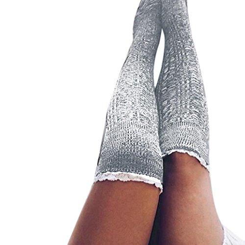 Kniestrümpfe AMUSTER Frauen hohe lange Strümpfe Damen Spitze Strick Socken Baumwolle Schenkel Socken (Grau) (Spitze Rüschen Strümpfe)