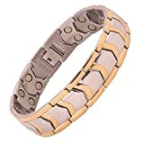 Amazheal Bio Magnetic Therapy Double Ton Titanium Energy Metal Bracelet For Men