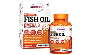 StBotanica Fish Oil 1000mg Advanced Double Strength 650mg Omega 3 with 330mg EPA, 220mg DHA - 60 Enteric Coated Softgels