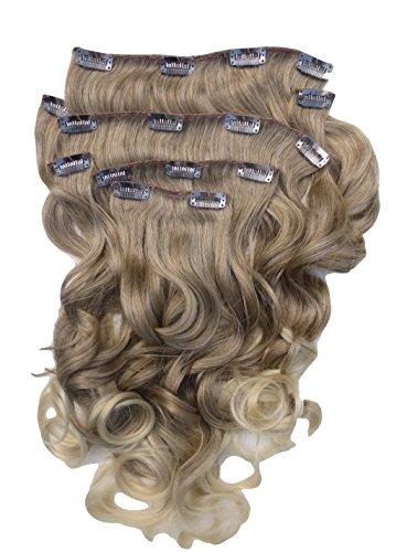 Tutti i colori disponibili! aspetto reale extension di capelli castano chiaro con ombre bionde mix ondulato lunghezza 24 inch