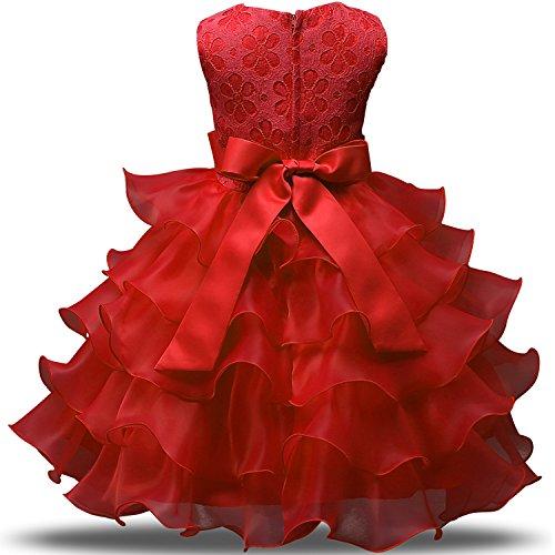 NNJXD Vestito da Ragazza Festa in Pizzo per Bambini Abiti da Sposa  Taglia(120) 4-5 Anni Rosso 9a864fd462d