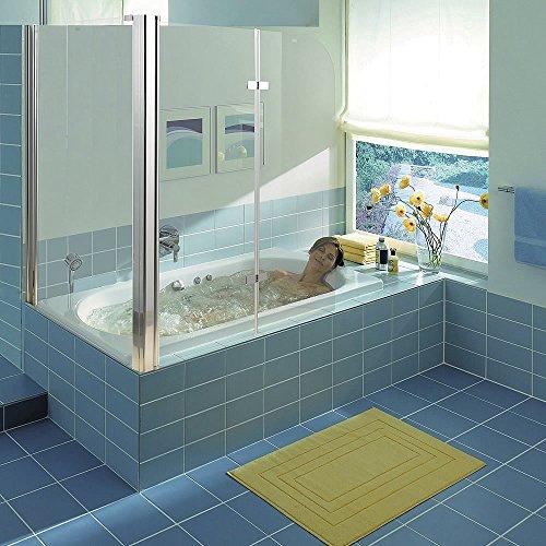 ung Badewannenaufsatz aus 5 mm ESG Sicherheitsglas, faltbar, 68 + 120 x 140 cm, Klarglas, inkl. Zubehör ()