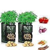 LOBKIN Bolsas de Cultivo de Papa, Bolsas de Cultivo de hortalizas para jardín Bolsa Maceta con Solapa Patata a Prueba de Agua Bolsas de Cultivo Duradero Resistentes (2 Pack)