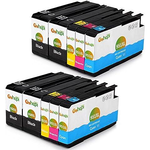 Gohepi Reemplazo para HP 950XL 951XL Cartuchos de tinta (4 Negro 2 Cian 2 Magenta 2 Amarillo) Alta Capacidad Compatible con HP Officejet Pro 8610 8600 Plus 8630 8100 8620 276dw 8615 251dw 8640 8660 8625 Impresora