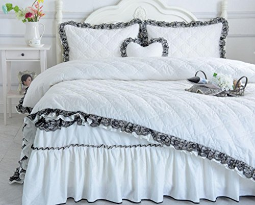 GHFDSJHSD Bettbezug-Set Bettwäsche Tröster Set Baumwolle 4 Stück Anzug Jacquard Gesteppte Tagesdecke Verdickung Warm halten Spitze Tagesdecken Bett Rock Blätter Kissenbezug Doppelbett, A -
