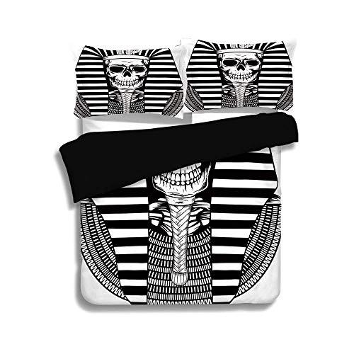 Schwarzer Bettbezug-Set, König, ägyptische Pharao Herrscher Mumie Schädel Skelett Statue für alte Ägypten Liebhaber drucken, schwarz und weiß, dekorative 3 Stück Bettwäsche Set von 2 Pillow Shams -