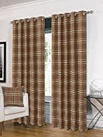 """Tartan Brown Beige Check Plaid Woven Lined 90"""" X 90"""" - 229cm X 229cm Ring Top Curtains by Curtains Unique"""