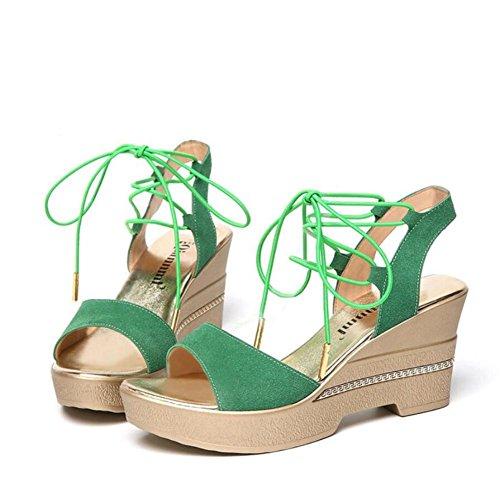 Lemon&T Suede Women Summer Peep-Toe antidérapante Semelle 8cm Hauts talons cheville bretelles Boucle Sandales One Wedges green