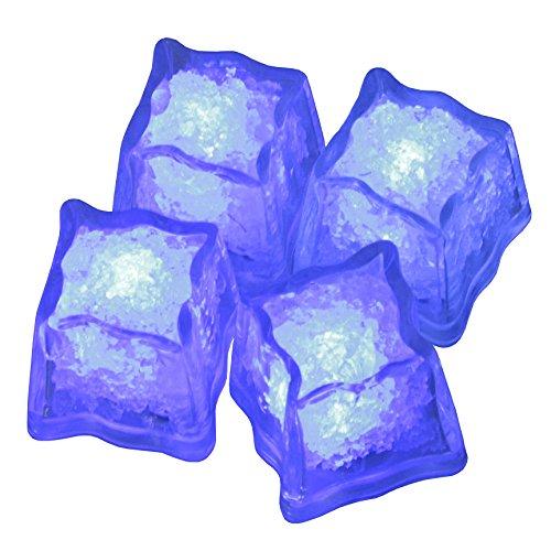 Eiswürfel leuchtend blinkend im 4er Set blau Party Licht Kunststoff Würfel wasserdicht mit Batterie ()