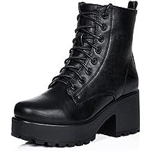 SPYLOVEBUY Shotgun Mujer Cordone Tacón Bloque Botes Bajas Zapatos f165f31fa04