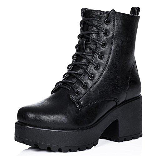 Stiefeletten Ankle Boots Schuhe Blockabsatz Plateau Schnür Schwarz Synthetik Kunstleder EU (Für Schwarz Boots Billig Frauen)