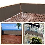 zimo Balkon Sichtschutz UV-Schutz blickdichte wetterbeständige Balkonbespannung Balkonverkleidung mit Kabelbindern HDPE-Spezialgewebe 5 Meter (90x500cm) Grau