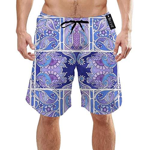 Blau und Lila Posy Patch Herren Sommer Badehose 3D Grafik Quick Dry Funny Beach Board Shorts mit Tasche M