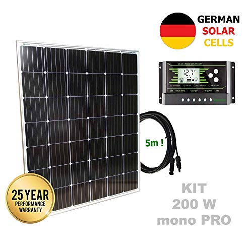 Kit 200W PRO 12V panel solar monocristalino células alemanasComposición del Kit Solar:Panel solar monocristalino 200W 12V células alemanas cable 5mRegulador solar de 20A 12V/24V con display y 2 USB LCD VIASOLAREspecificaciones técnicas:Panel solar m...