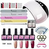 Saint-Acior kit di nail art gel unghie smalto semipermanente per unghie 12W lampada LED USB Doppia sorgente di luce 4pc smalto in Gel