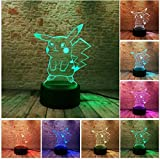 FUWUX Home Pokemon Go Action Figure 3D Atmosphere Illusion Night Light Pikachu Camera da Letto Kids Gift Creativo 3D Illusion Lamp
