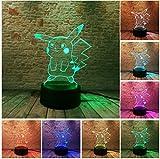 JINSH Pokemon Go Action Figure 3D Atmosphere Illusion Night Light Pikachu Camera da Letto Kids Gift Creativo 3D Illusion Lamp