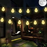 KEEDA 10LED Solar Light Bulb String Lights, Festoon Clear Bulb Lights, Solar Plastic Frosted Globe Fairy String, Outdoor Garden Light, Indoor Outdoor Christmas Party Decorative Lights/ Lighting, Ambiant Lighting (Warm White)