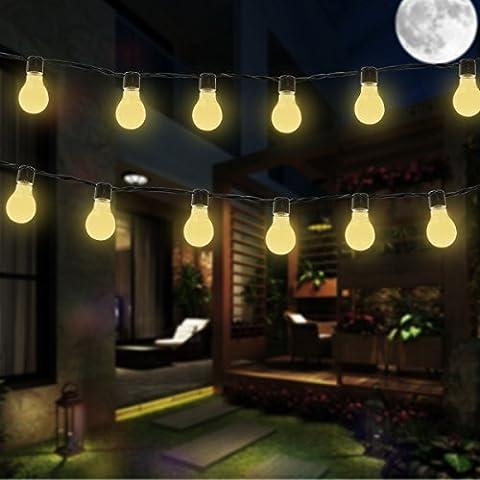 Guirlande Lumineuses Solaire, SUAVER Imperméable 4.9 ft 10 LED Ampoules Fée Lumière Lumière Extérieure Décorative pour Jardin, Patio, Mariage, Party et des Décorations de Noël, Blanc