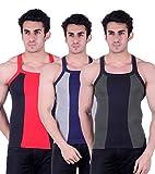Zimfit Gym Vest - Pack of 3 (Green_Grey_...