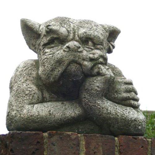 """Gargoylebüste """"GORDON"""", Steinguss Gartenskulptur, B/H/T: 31/26/23cm, wetterfeste Figur für den Außenbereich"""