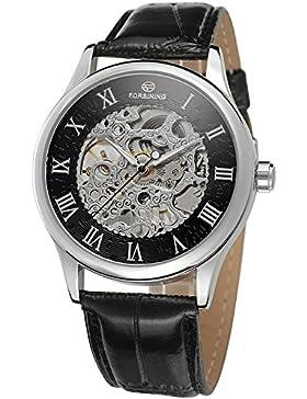 Gute Elegante Steampunk Herren Mechanische Armbanduhr aufziehbar Roman Silber Schwarz