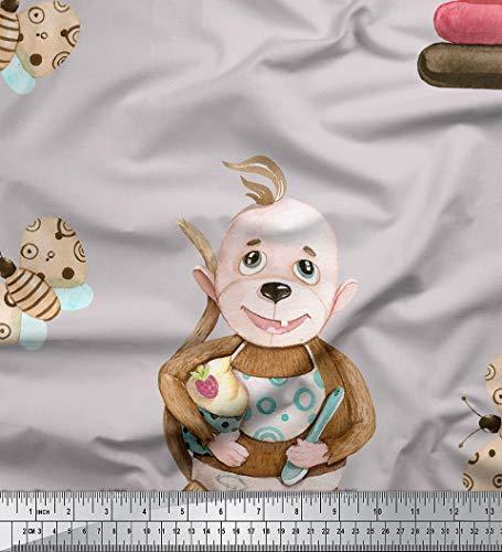 Soimoi Grau Baumwolljersey Stoff Monkey & Cupcakes Kinder Stoff drucken 1 Meter 58 Zoll breit