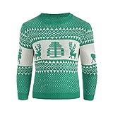 Xmiral Sweater Herren gestrickt Top weihnachtlich Bedruckten Winter Pullover Gestreiftes Outwear (L,Grün)