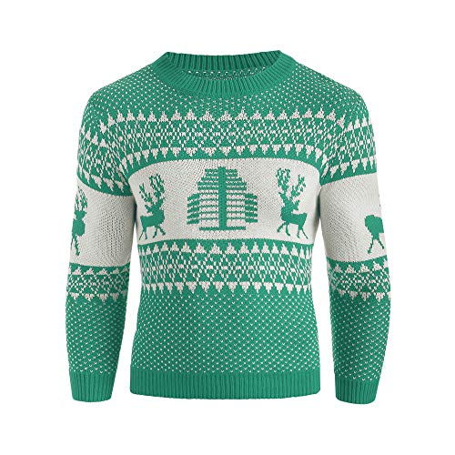 Xmiral Sweater Herren gestrickt Top weihnachtlich bedruckten Winter Pullover gestreiftes Outwear (XXL,Grün)