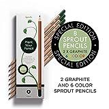 Sprout Bleistifte - Special Edition | 6 Bunt- und 2 Graphitstifte zum Einpflanzen | aus unbehandeltem Bio Naturholz und mit bleifreien Minen | Perfekt zum Ausmalen | 8er Pack