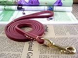 Erste Schicht aus weichem Leder Teddy Vip kleine und mittlere Hunde Halsbänder Hundeleinen Lederleine Pet Supplies, Dunkelrot