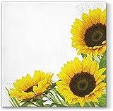 20 Servietten Drei Sonnenblumen / Blumen / Herbst 33x33cm