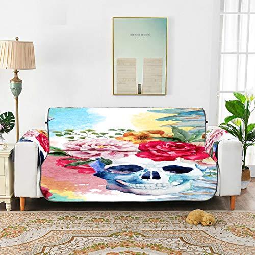 """Zemivs Aquarell Blume Pfingstrose Stift Boho Schädel Couch Sofa Bezug Stuhl Couch Schonbezug Sofa Bezug Für 45\""""(114cm) Sofa Vor Kindern schützen Hunde Haustiere"""
