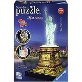 Ravensburger 12596 - Statua della Libertà, Puzzle 3D Building, Night Edition
