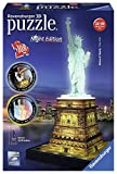 Ravensburger 12596 - Statua della Libertà, Puzzle 3D Building, Night Edition
