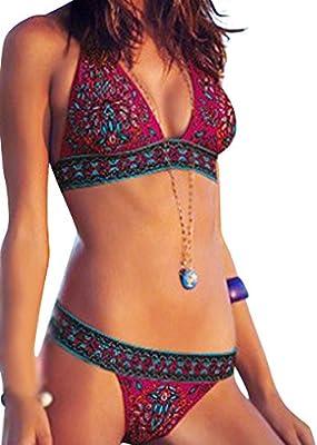 GILOLA Mujeres Dulce Vendimia Impresión Acero Prop Bikini Bañadores Separado