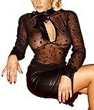 Noir Handmade - Erotische transparente Tüll Bluse / Top schwarz - Gr. XL