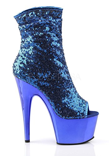 Pleaser ADORE-1008SQ Blue Sequins/Blue Chrome