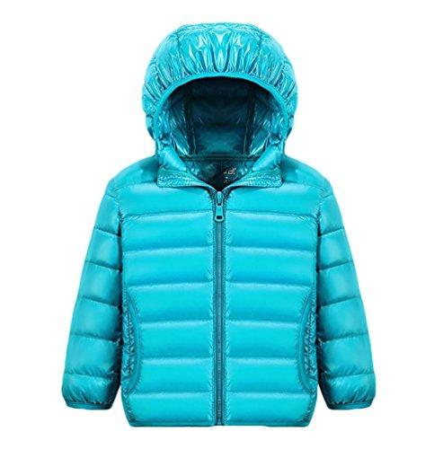ZKOO Kinder Ultraleichte übergangsjacke Warme Daunenjacke Daunenmantel mit Kapuze Winterjacken für Jungen Mädchen Blau Für Höhe 130CM