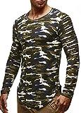 LEIF NELSON Herren Oversize Longsleeve Pullover Hoodie Sweatshirt Biker-Style Rundhals Langarm Shirt Hoody Sweater Vintage LN6326 S-XXL; Größe XL, Camouflage