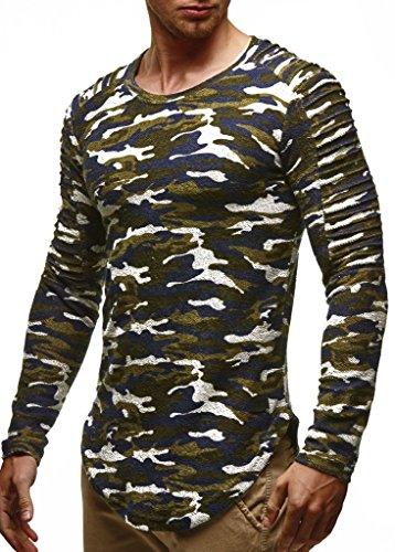 LEIF NELSON Herren Pullover Rundhals-Ausschnitt | Schwarzer Männer Longsleeve | dünner Pulli Sweatshirt Langarmshirt Crew Neck | Jungen Hoodie T-Shirt Langarm Oversize | LN6326 Camouflage Large