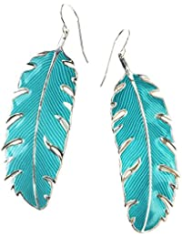 925 Sterling Silver Feather Dangle Earrings Turquoise-Coloured Polymer Clay Handmade Jewellery