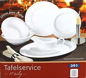 classic bone china tafelservice 17 teilig mehr als nur teller rille k che. Black Bedroom Furniture Sets. Home Design Ideas